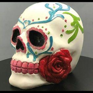 Halloween Day of The Dead Sugar Skull Glitter Rose